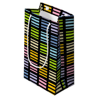 Pastel Rainbow Squares and Stripes Black Small Gift Bag