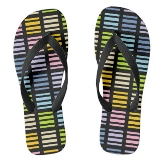 Pastel Rainbow Squares and Stripes Black Thongs