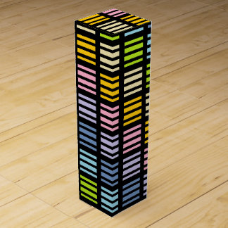 Pastel Rainbow Squares and Stripes Black Wine Gift Box