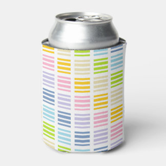 Pastel Rainbow Squares and Stripes Can Cooler