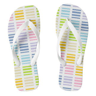 Pastel Rainbow Squares and Stripes Thongs