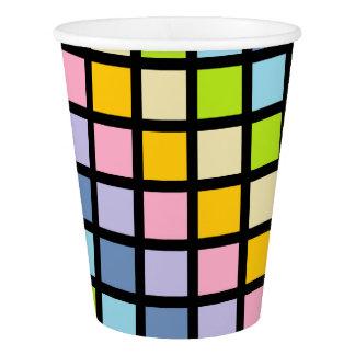 Pastel Rainbow Squares Black Paper Cup