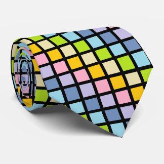 Pastel Rainbow Squares Black Tie