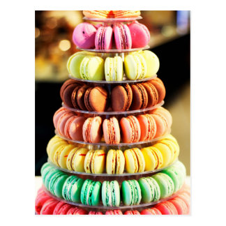 Pastel Rainbow Stacked French Macaron Cookies Postcard