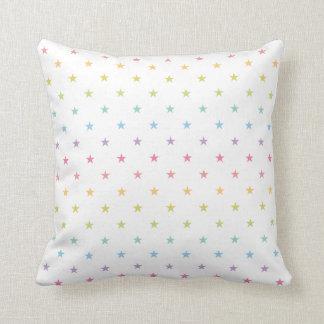 Pastel Rainbow Stars Pattern Throw Pillow