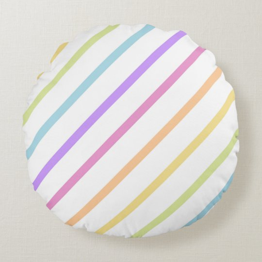 Pastel Rainbow Stripe Throw Pillow