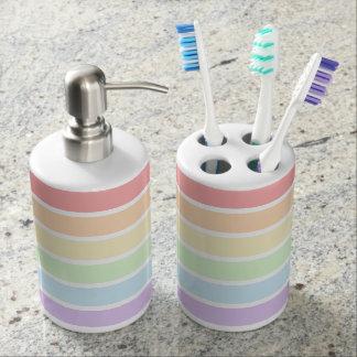 Pastel Rainbow Striped Bath Set