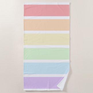 Pastel Rainbow Striped Beach Towel