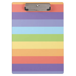 Pastel rainbow stripes Gay Pride Clipboard