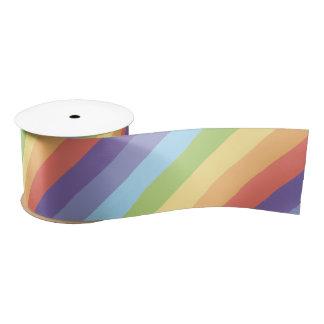 Pastel rainbow stripes Gay Pride Satin Ribbon