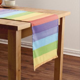 Pastel rainbow stripes Gay Pride Short Table Runner
