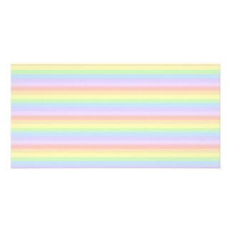Pastel Rainbow Stripes. Photo Card Template