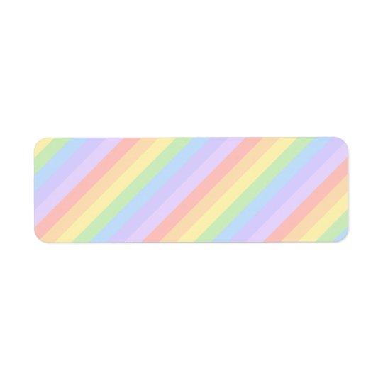 Pastel Rainbow Stripes. Return Address Label