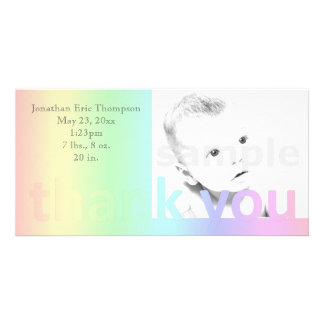 Pastel Rainbow Thank You Birth Announcement Photo Cards