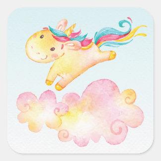 Pastel Rainbow Unicorn with Clouds Sweet Sticker