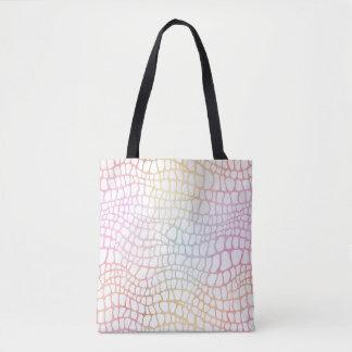 Pastel Rainbow Watercolor Alligator Skin Tote Bag