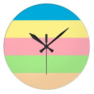 Pastel Rainbows Large Clock
