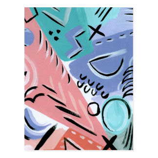 Pastel, retro print postcard