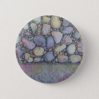 Pastel River Rock and Pebbles 6 Cm Round Badge