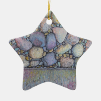 Pastel River Rock and Pebbles Ceramic Ornament