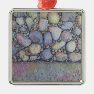 Pastel River Rock and Pebbles Metal Ornament