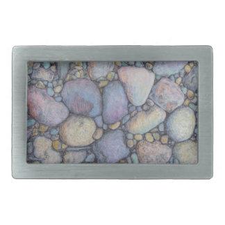 Pastel River Rock and Pebbles Rectangular Belt Buckle