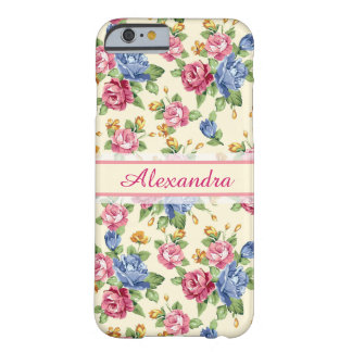 Pastel Romantic blossom Pink, Red, Blue Roses name Barely There iPhone 6 Case