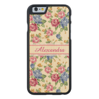 Pastel Romantic blossom Pink, Red, Blue Roses name Carved Maple iPhone 6 Case