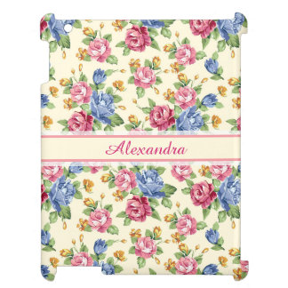 Pastel Romantic blossom Pink, Red, Blue Roses name Cover For The iPad