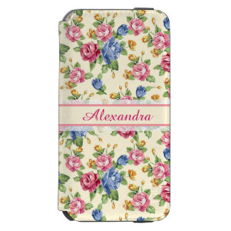 Pastel Romantic blossom Pink, Red, Blue Roses name Incipio Watson™ iPhone 6 Wallet Case