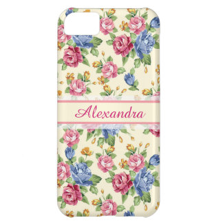 Pastel Romantic blossom Pink, Red, Blue Roses name iPhone 5C Case