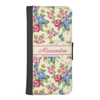 Pastel Romantic blossom Pink, Red, Blue Roses name iPhone SE/5/5s Wallet Case