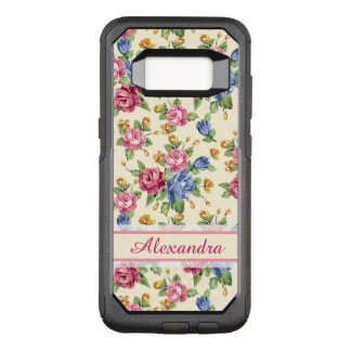Pastel Romantic blossom Pink, Red, Blue Roses name OtterBox Commuter Samsung Galaxy S8 Case