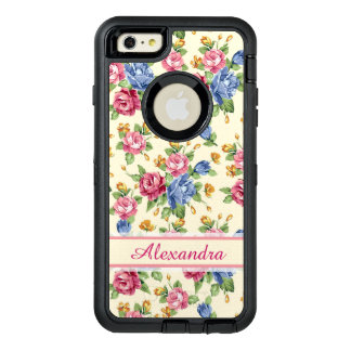 Pastel Romantic blossom Pink, Red, Blue Roses name OtterBox Defender iPhone Case