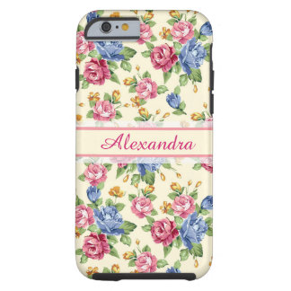 Pastel Romantic blossom Pink, Red, Blue Roses name Tough iPhone 6 Case