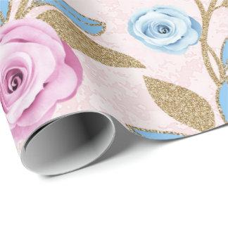 Pastel Rose Floral Gold Glitter Baroque Antonietta Wrapping Paper