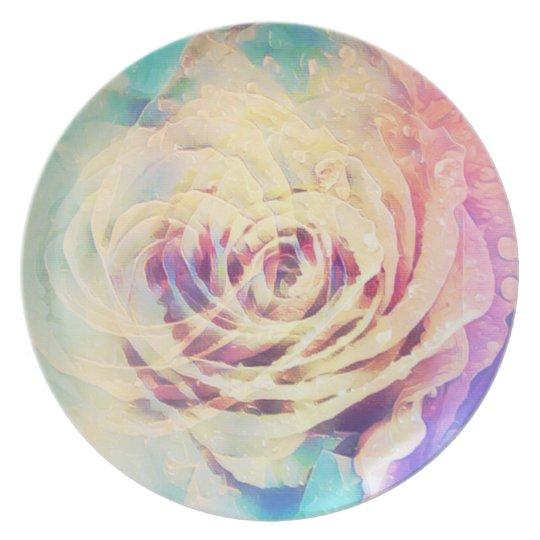 Pastel Rose Melamine  Plate