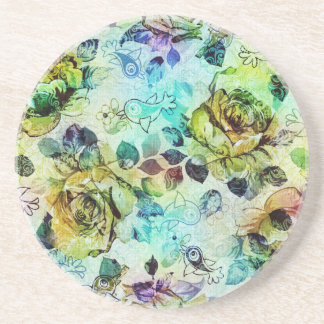 Pastel Roses & Birds Design Drink Coasters