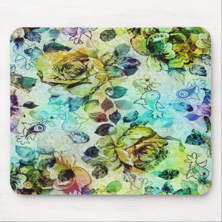 Pastel Roses Birds Design Mouse Pads