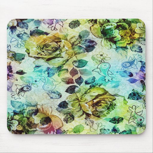 Pastel Roses & Birds Design Mouse Pads