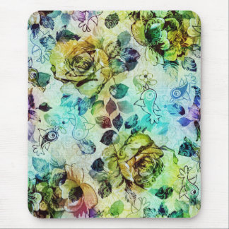 Pastel Roses & Birds Design Mouse Pad