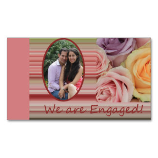pastel roses photo engagement announcement magnetic business cards