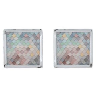 Pastel Scales Silver Finish Cuff Links