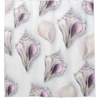 Pastel Seashell Design Shower Curtain