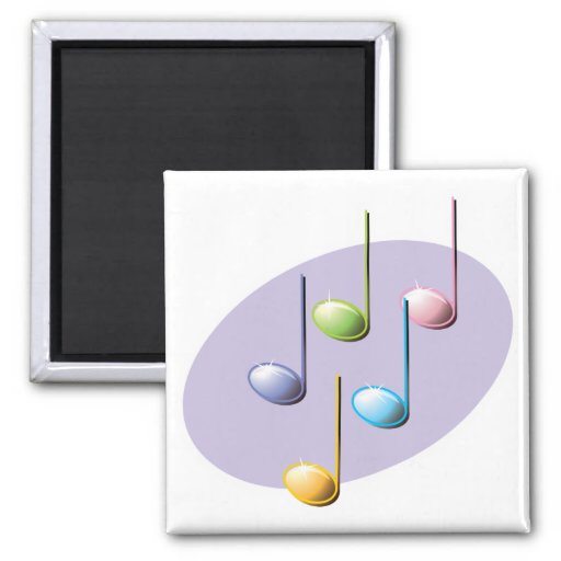 pastel shiny music notes magnets