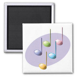 pastel shiny music notes square magnet