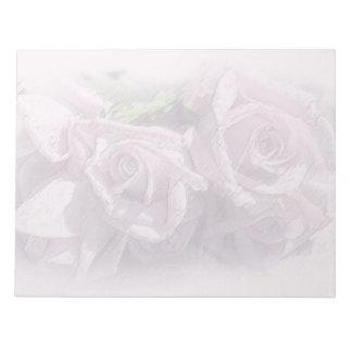 Pastel Silver Roses Notepad
