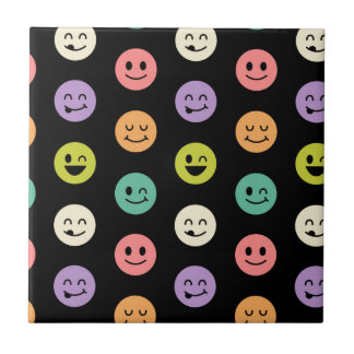 pastel smiley faces small square tile
