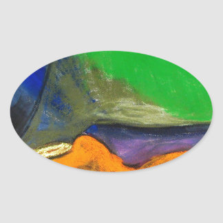Pastel Soothers (abstract expressionism) Oval Sticker
