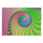 Pastel Spiral Fractal Greeting Card